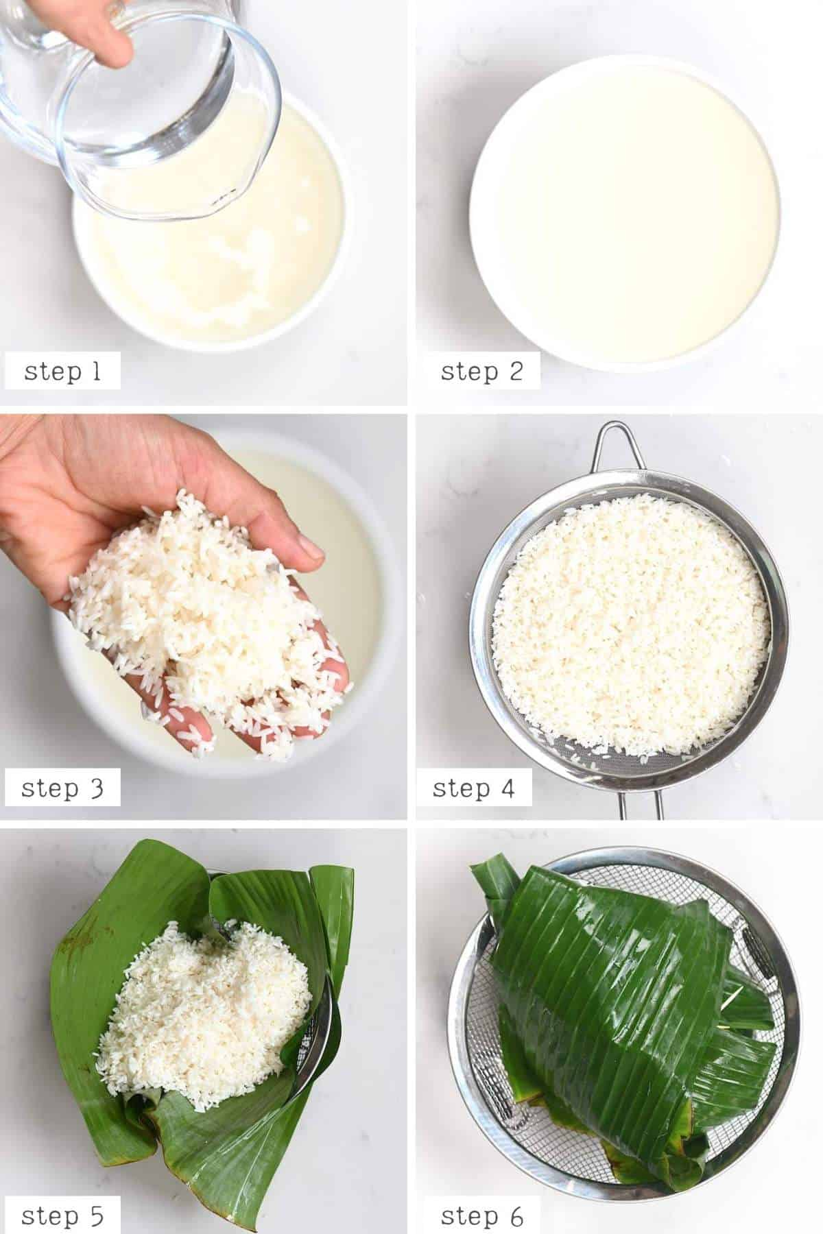 preparing rice steps for thai sticky rice