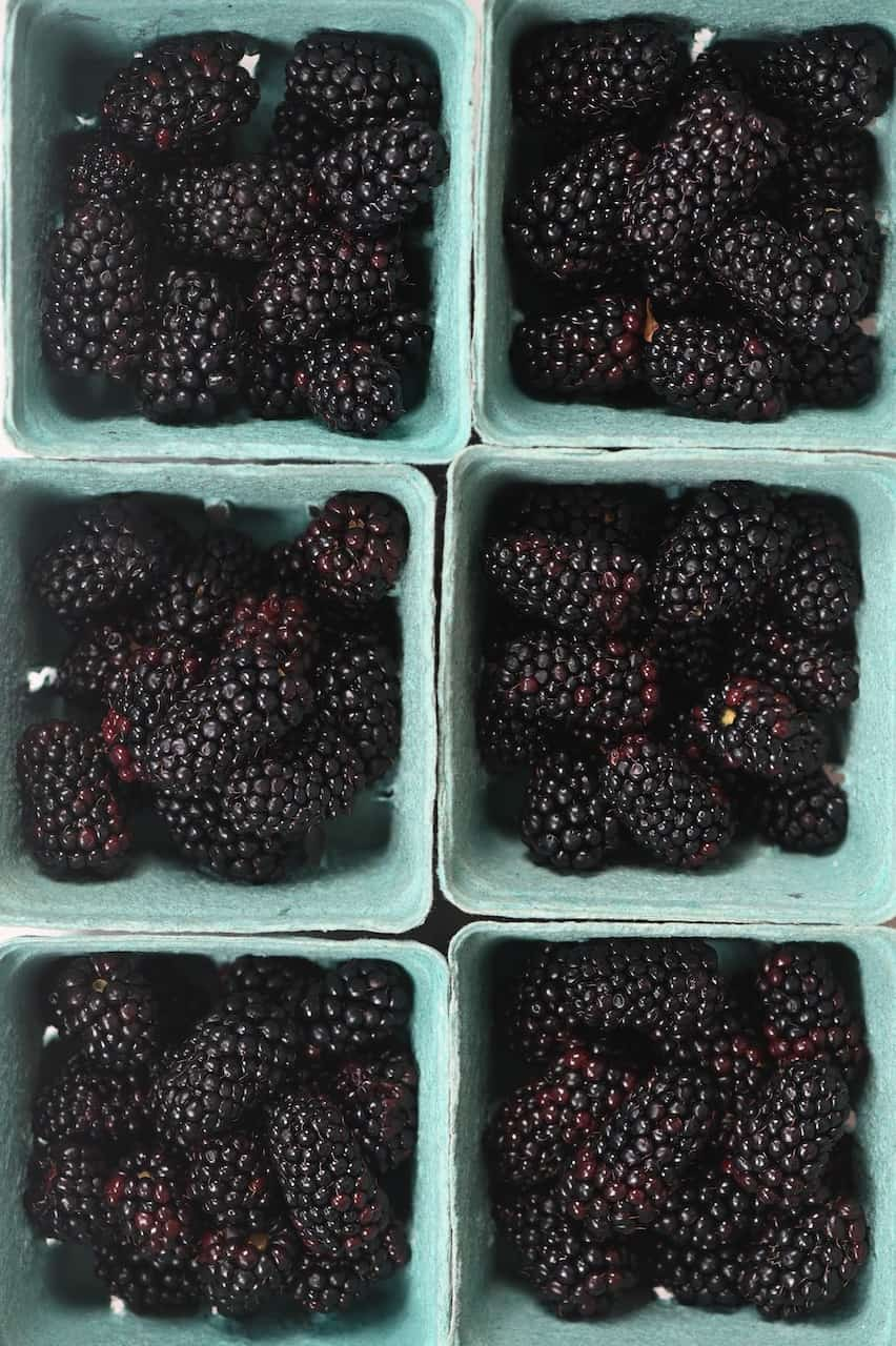 six boxes of Blackberries