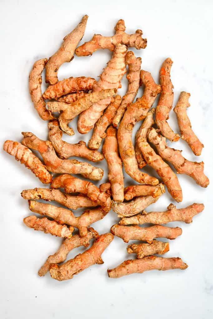 spread of fresh turmeric