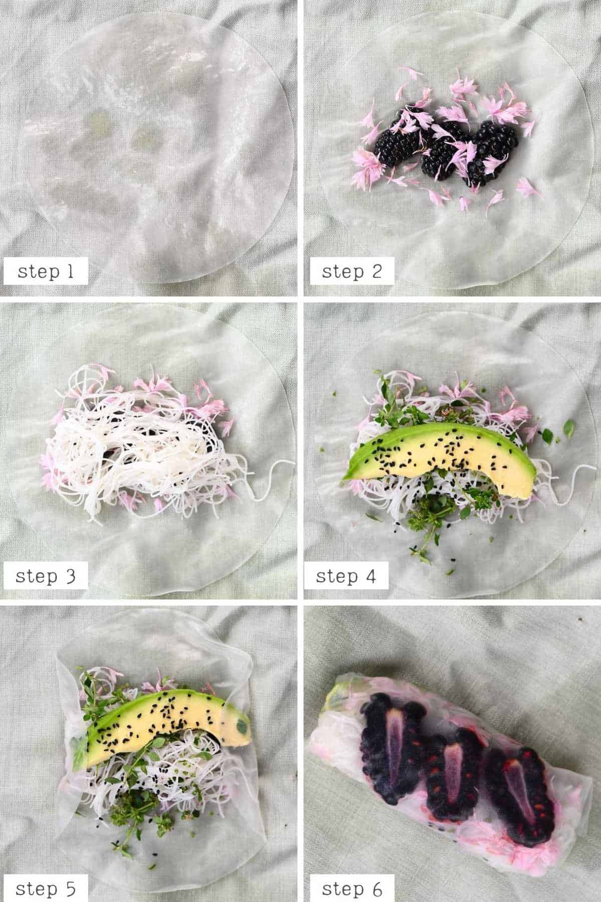 steps for making blackberry rice paper roll