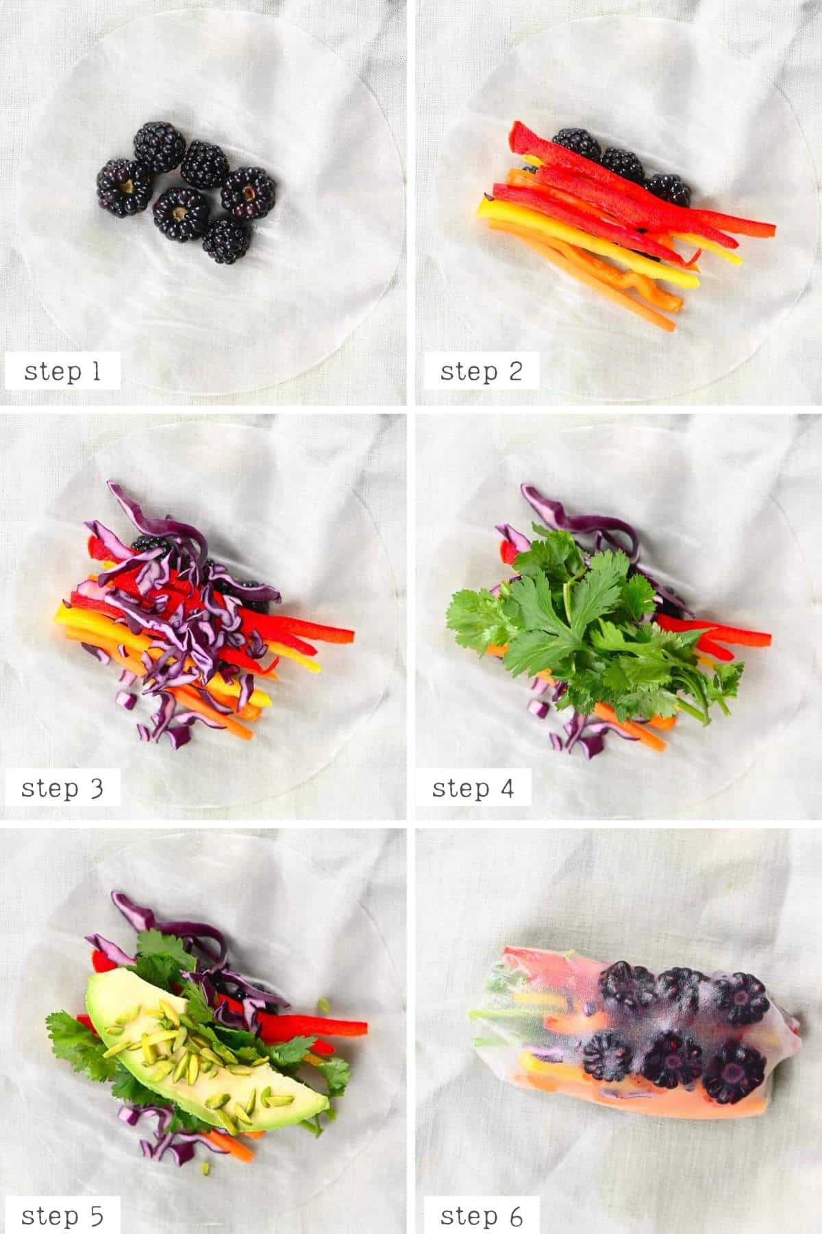steps for making rainbow rice paper roll