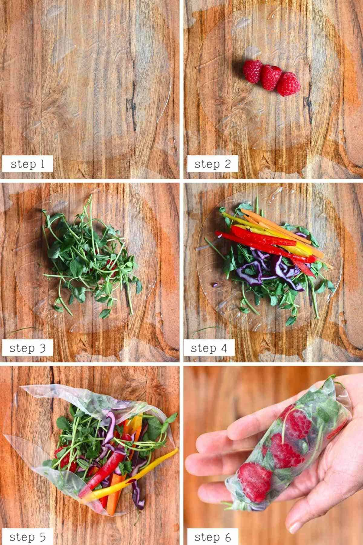 steps for making raspberry rice paper roll