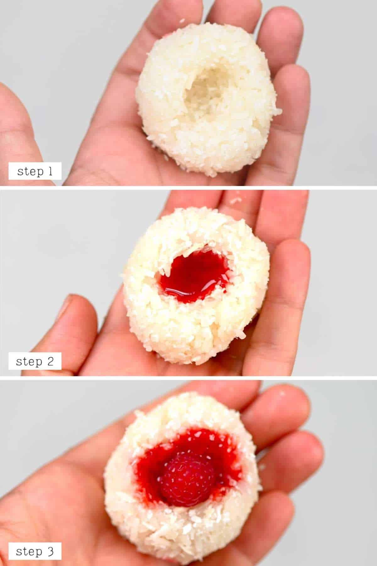 steps to making raspberry sushi balls