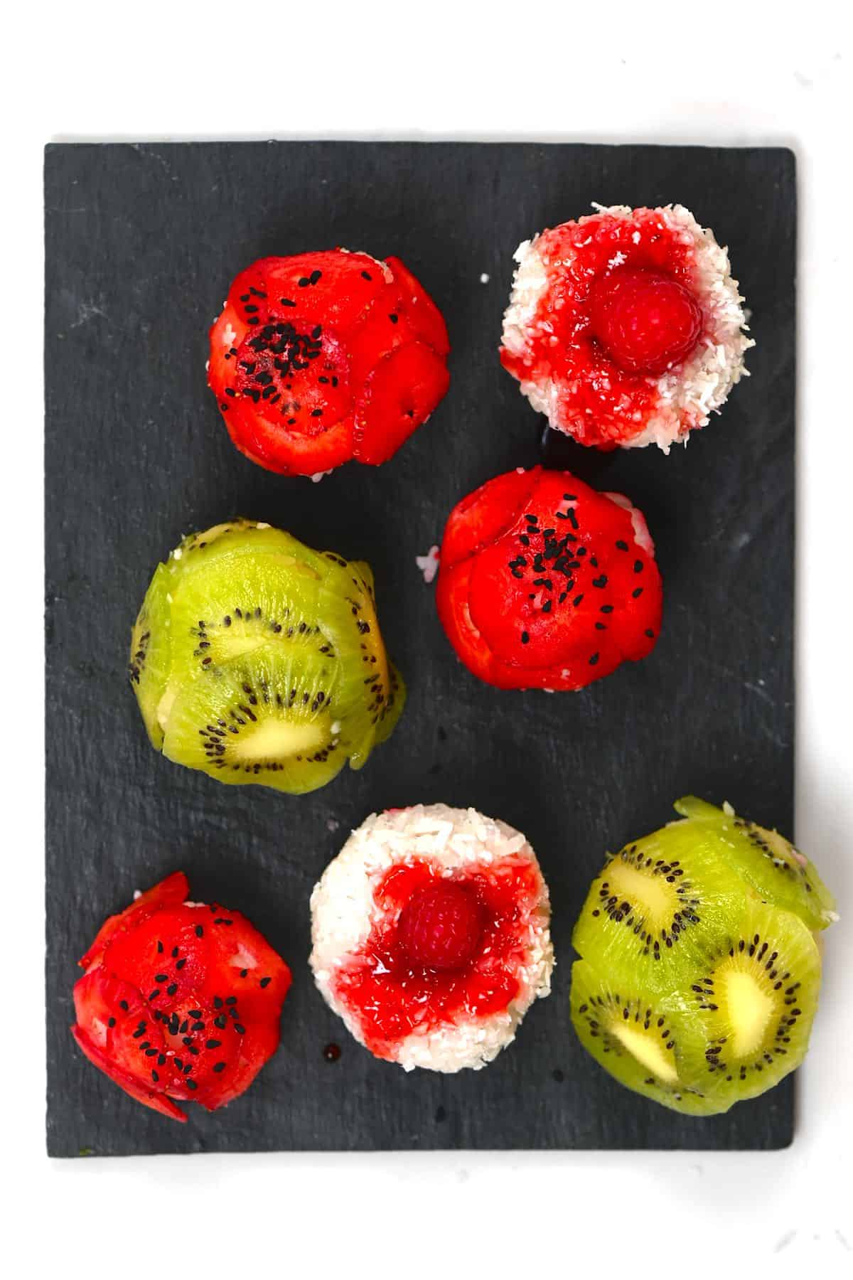 sweet sushi balls with berries