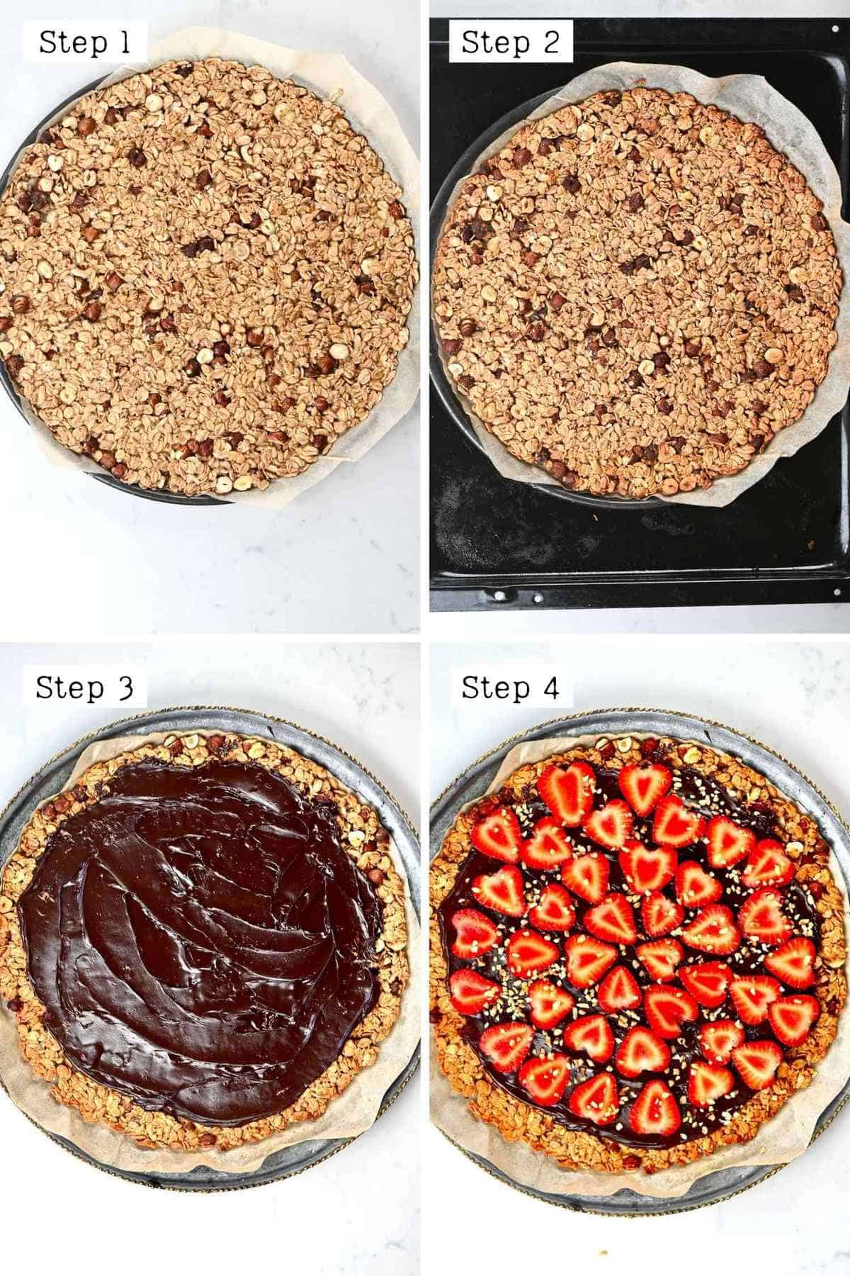 Assembling the nutella pizza