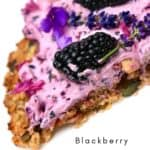 A close up of a Blackberry Granola Pizza slice