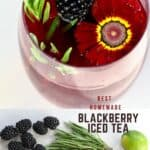 Blackberry Iced Tea in a glass and some blackberries