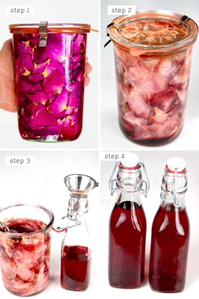 Collage of the Final Steps for making rose extract