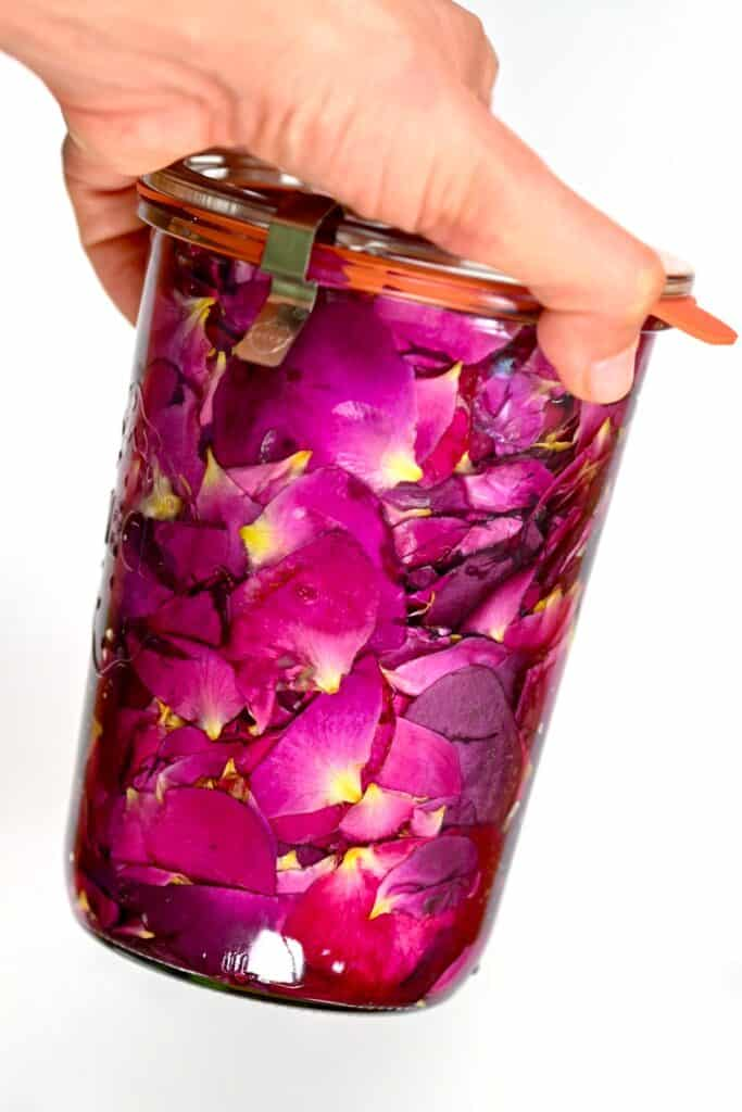 Hand holding Rose Extract mixture in a glass container