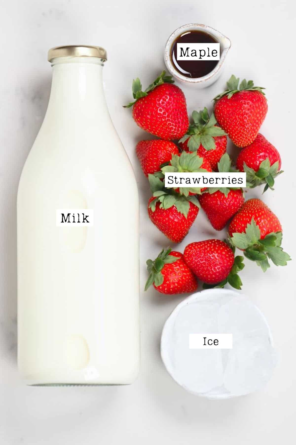 Ingredients for making strawberry Frappuccino