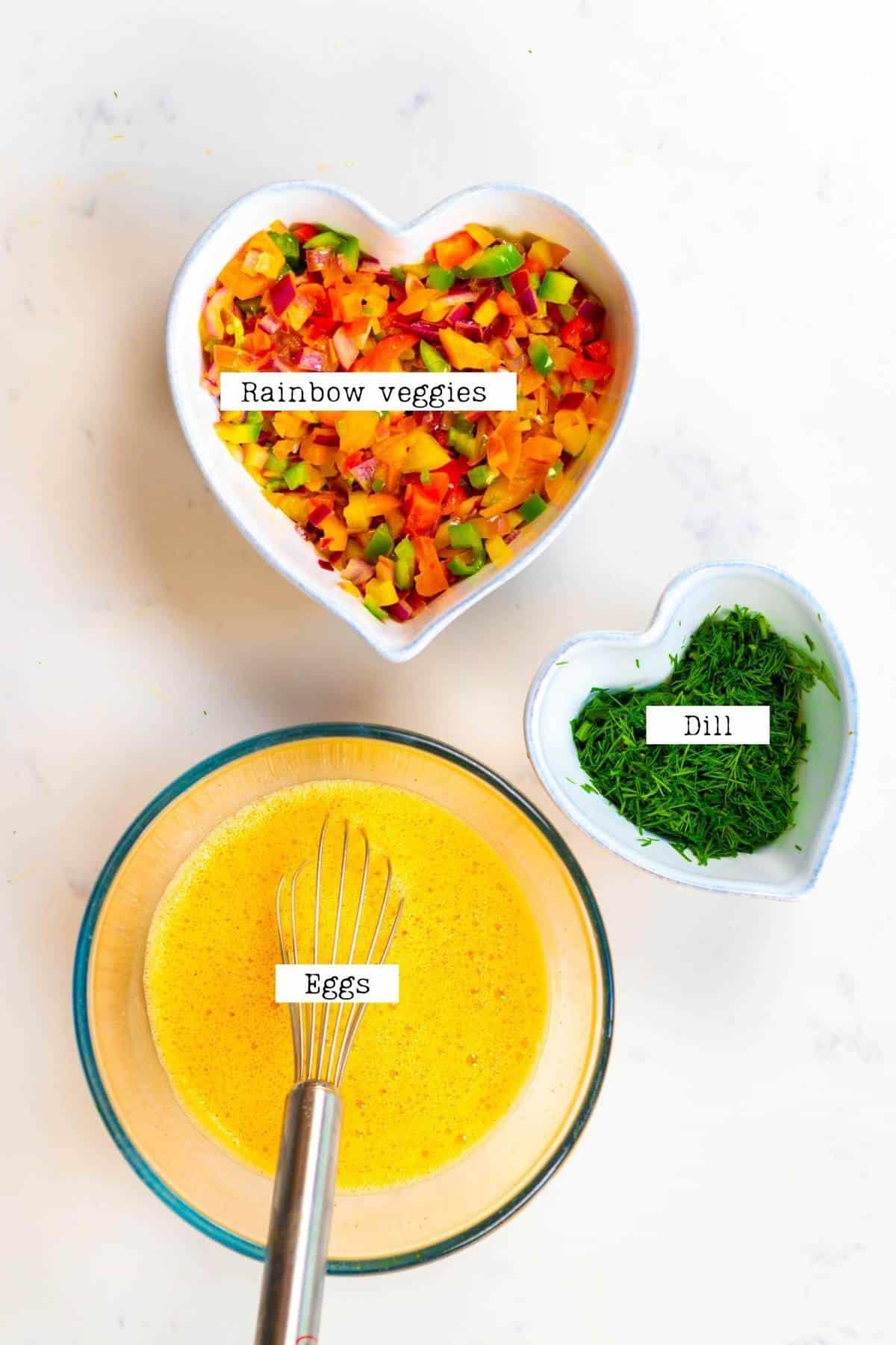 Ingredients for making veggie omelette