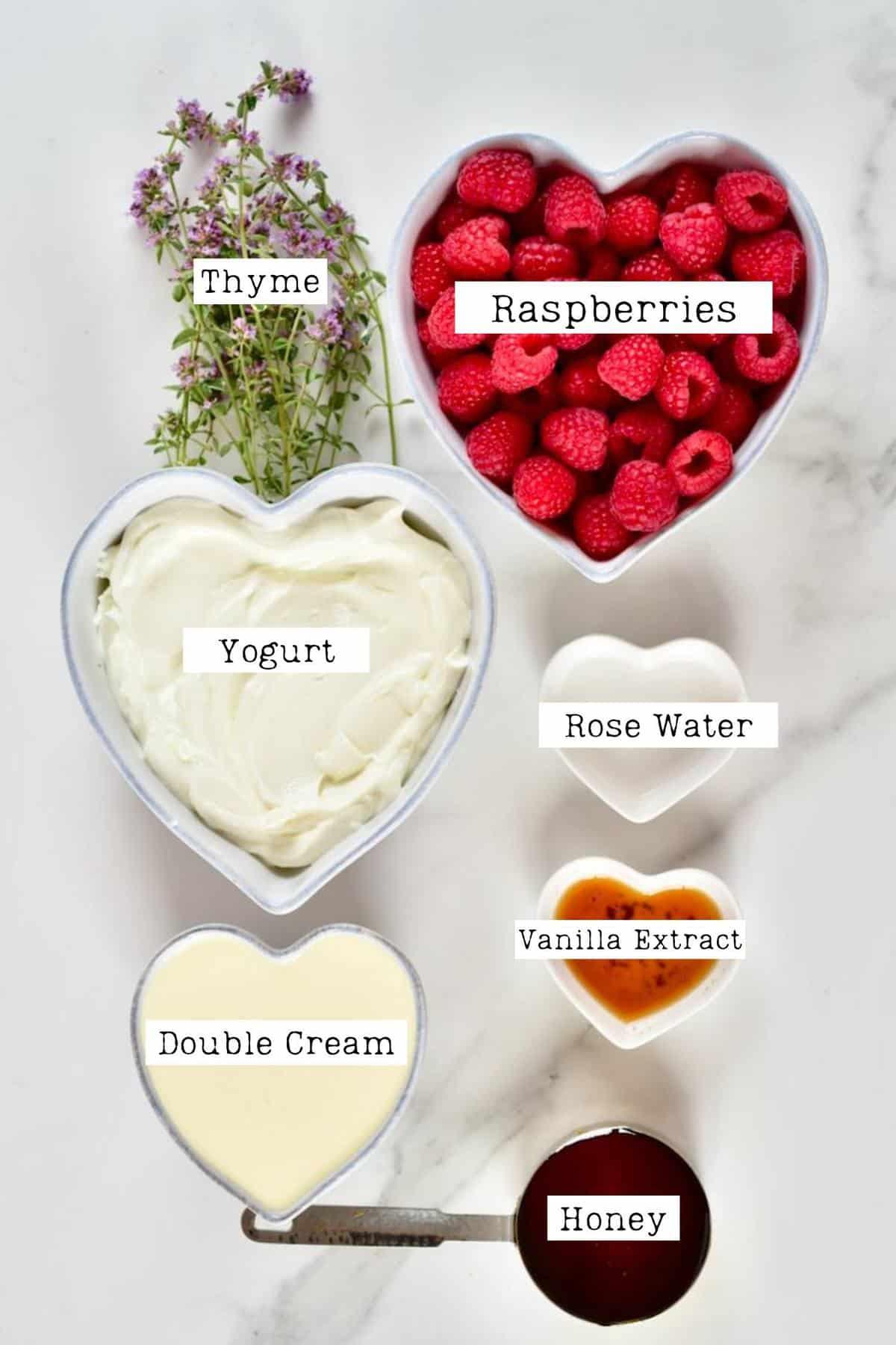 Ingredients for raspberry ice cream