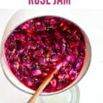 Rose jam in a pot