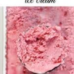 Scoop of Raspberry ice cream showing the texture