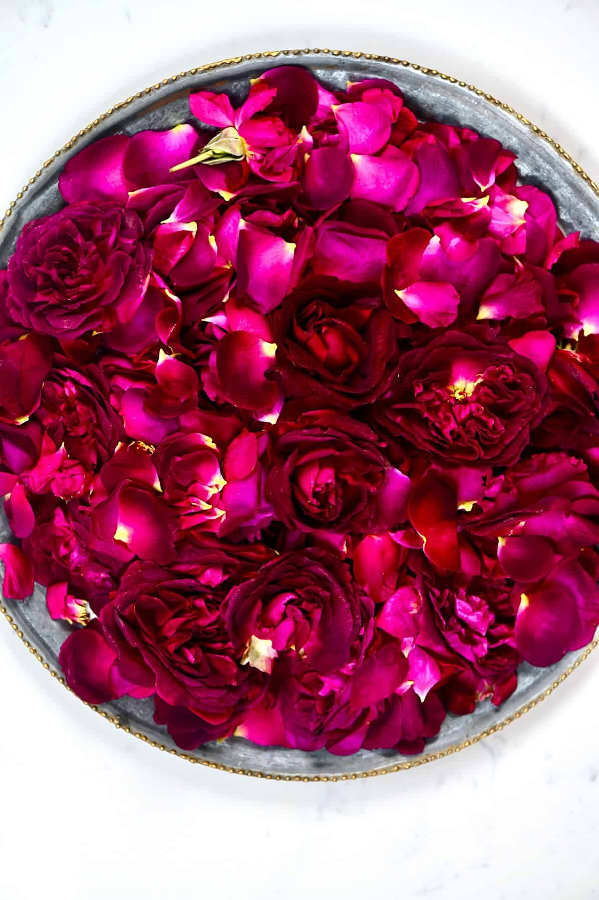 Spread of fresh roses on a tray