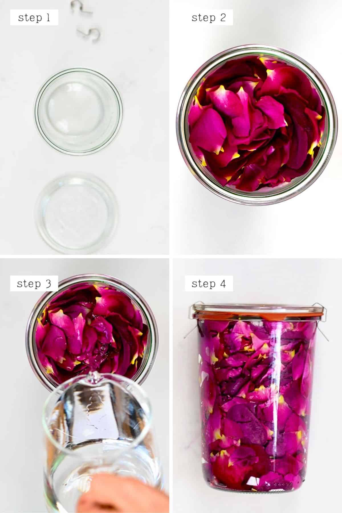 Steps for making rose extract