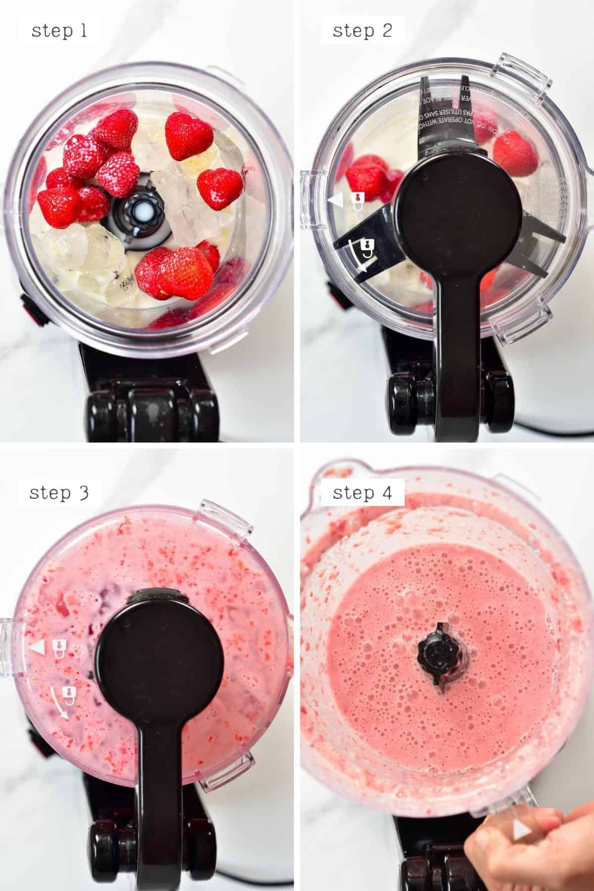 Steps for making strawberry Frappuccino