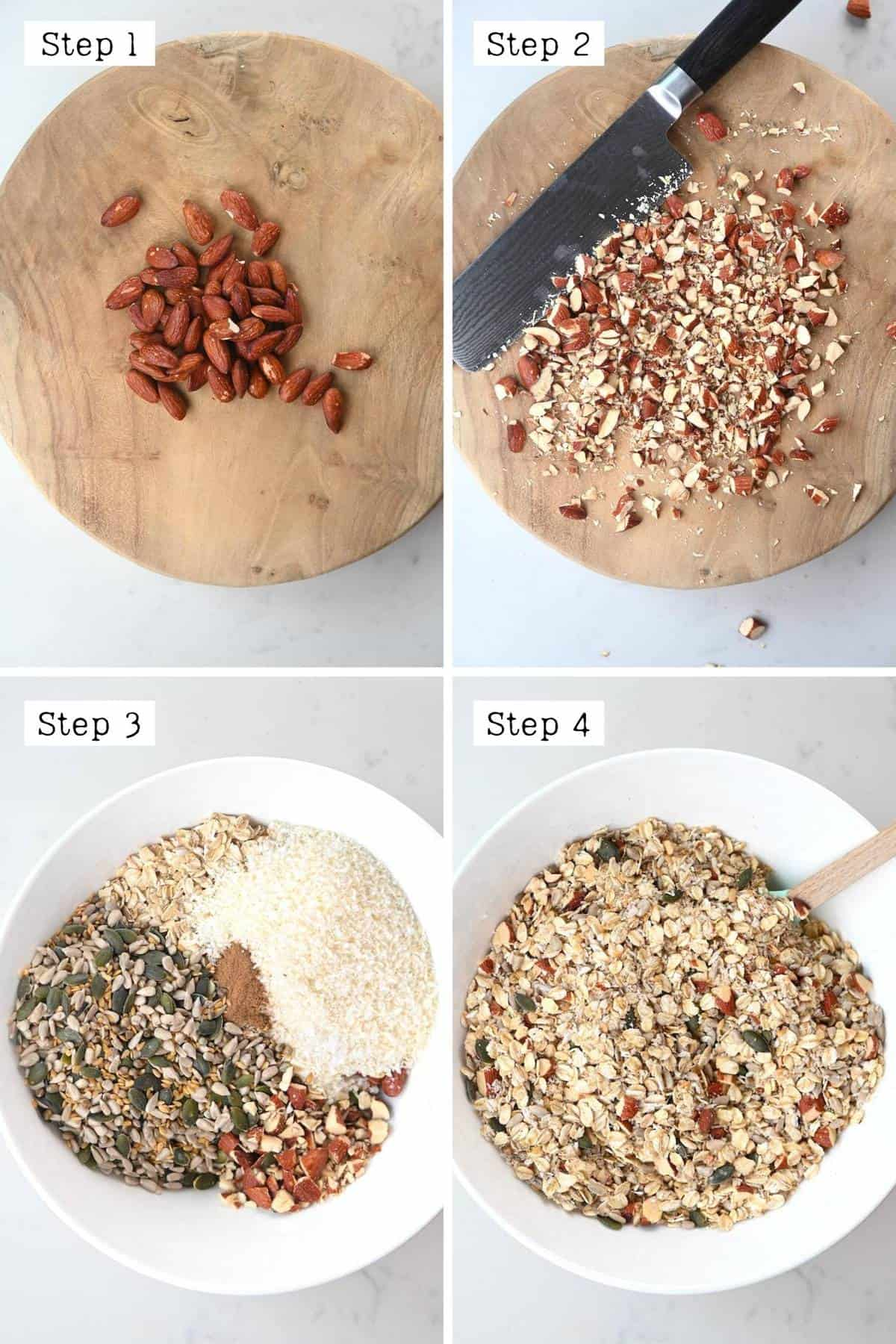 Steps for mixing the dry ingredients of the granola pizza