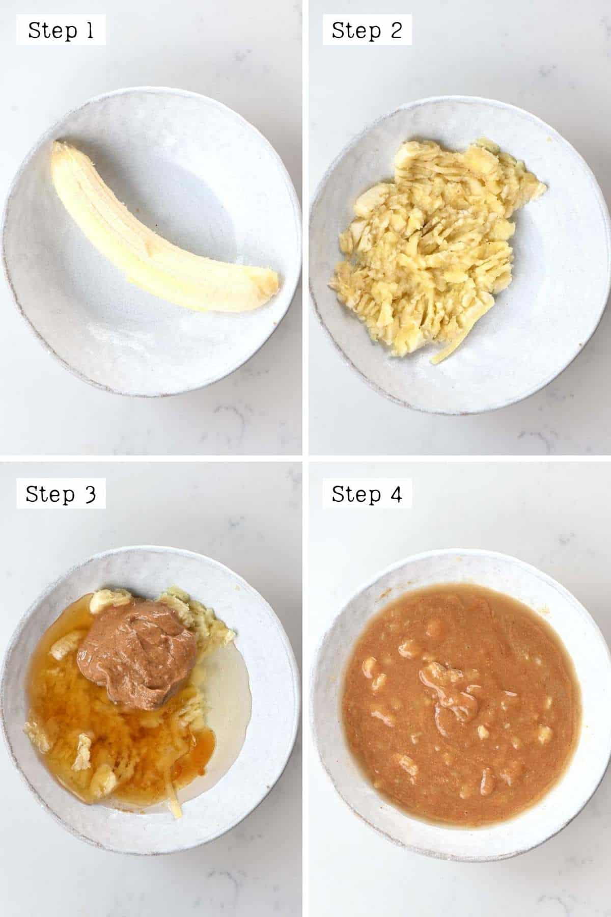 Steps for mixing the wet ingredients of the granola pizza