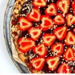 Close up to view of a Strawberry Nutella Pizza