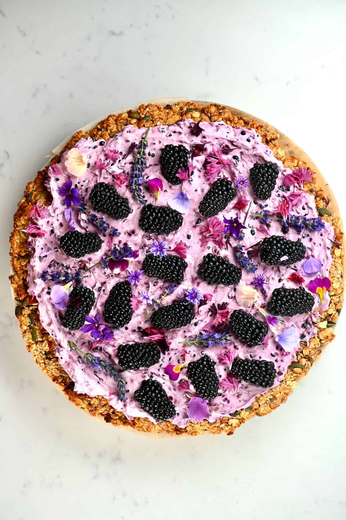 Top view of a Blackberry granola pizza