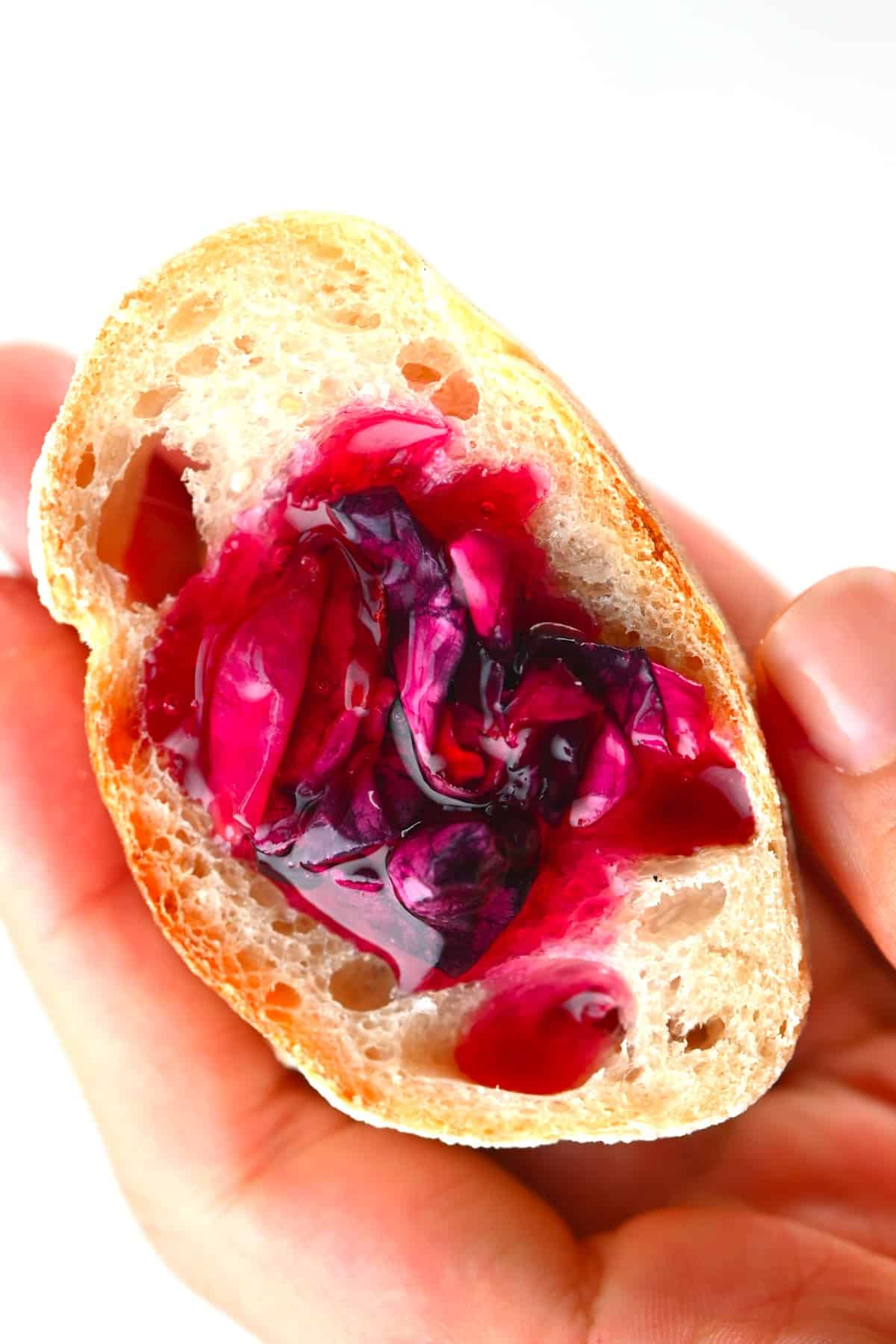 closeup of Rose Jam on sourdough toast