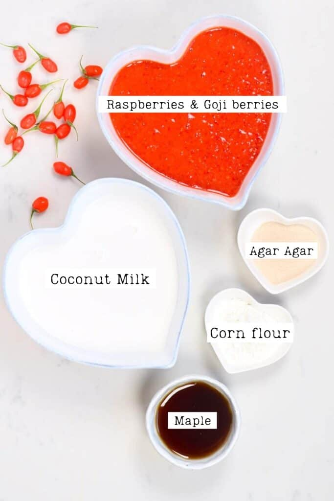 ingredients for making the main filling for the goji berries tart