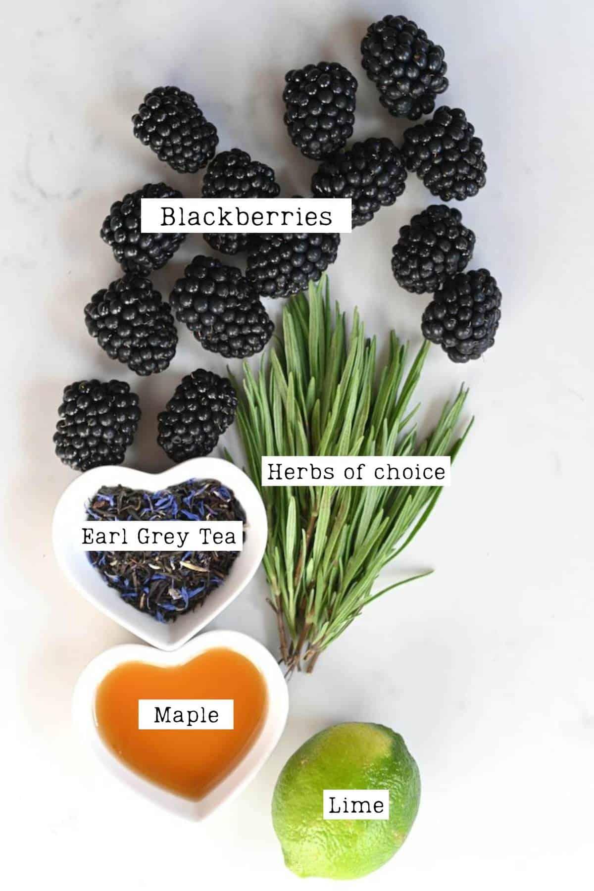 ingredients to make blackberry iced tea
