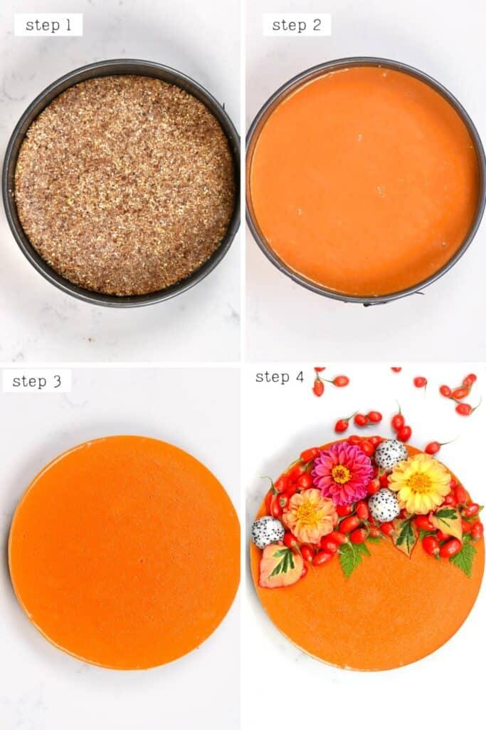 steps for assembling the goji berry tart