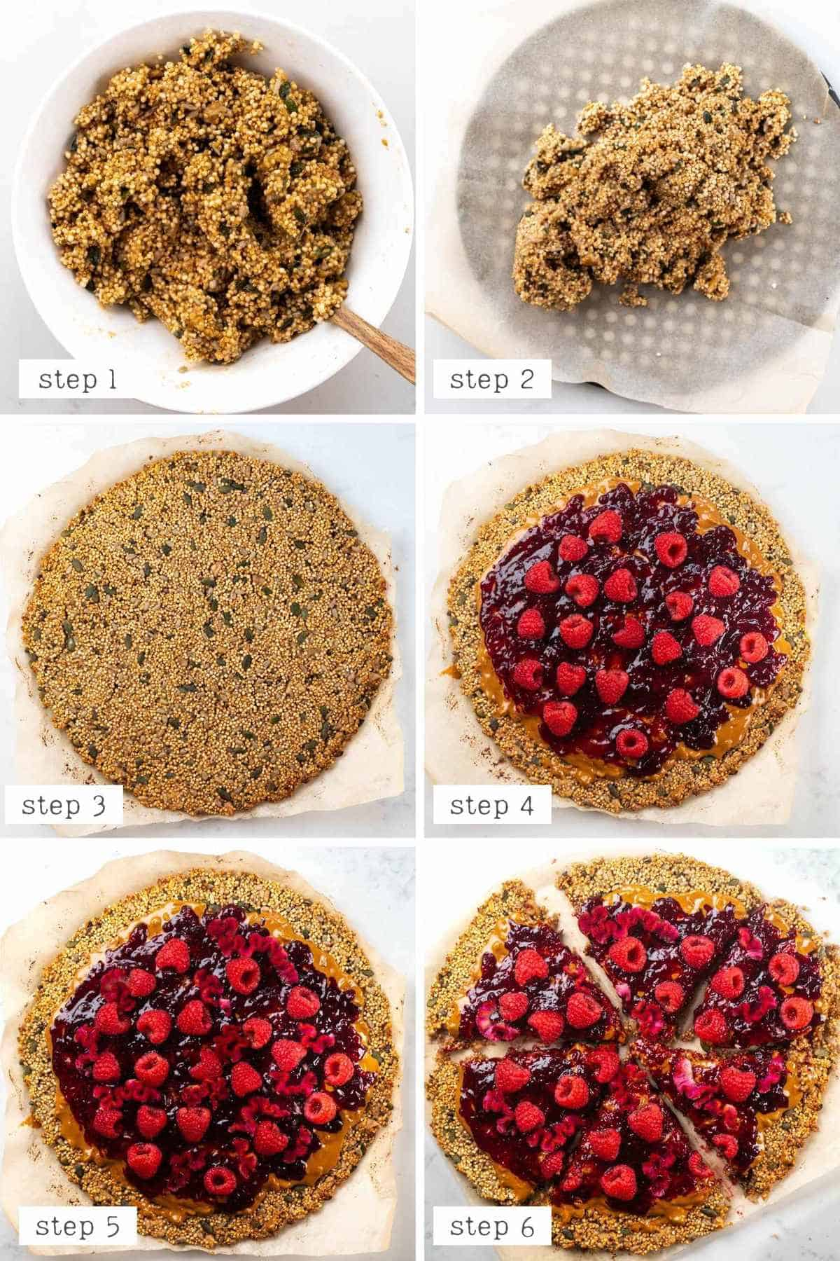 steps for assembling the peanut butter and jam breakfast pizza