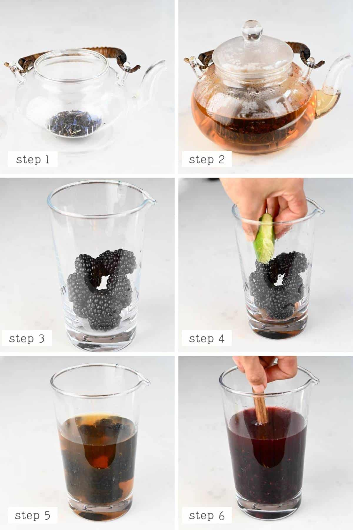 steps for making blackberry iced tea