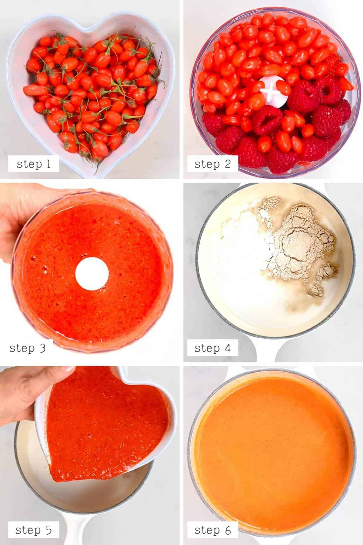 steps for making the filling for the goji berry tart