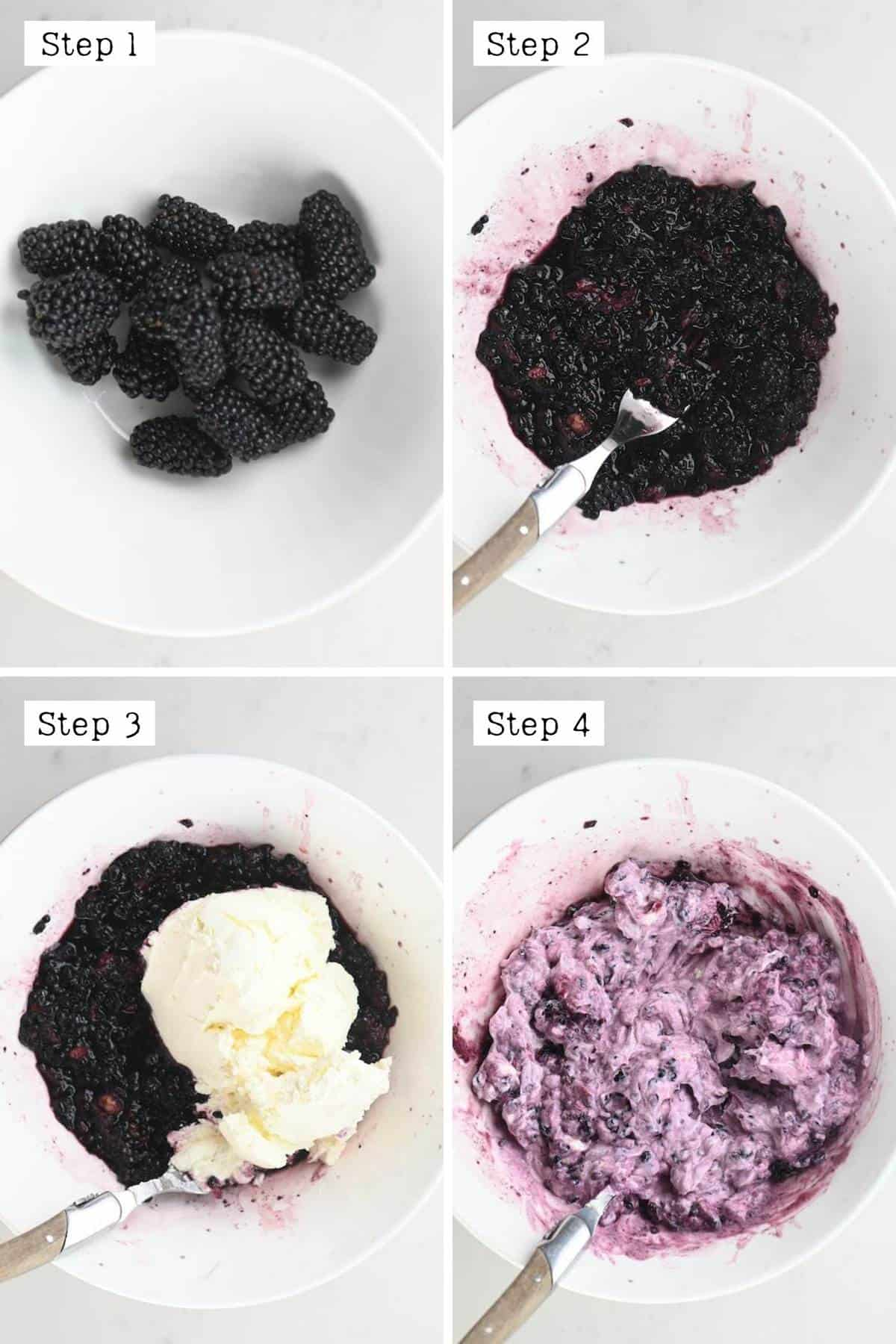 steps for making the topping for blackberry yogurt pizza topping