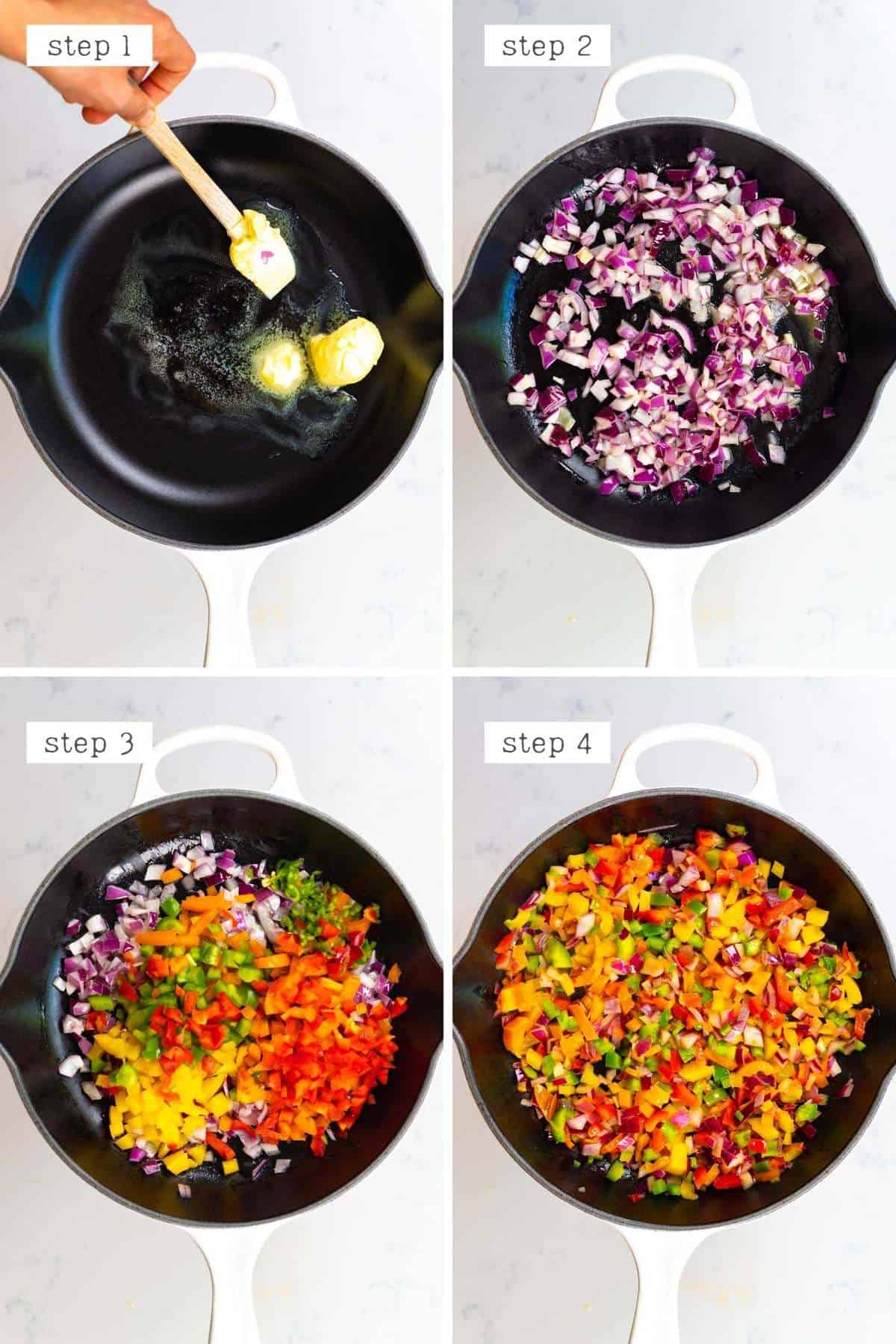 steps for sauteing veggies in a pan for omellete
