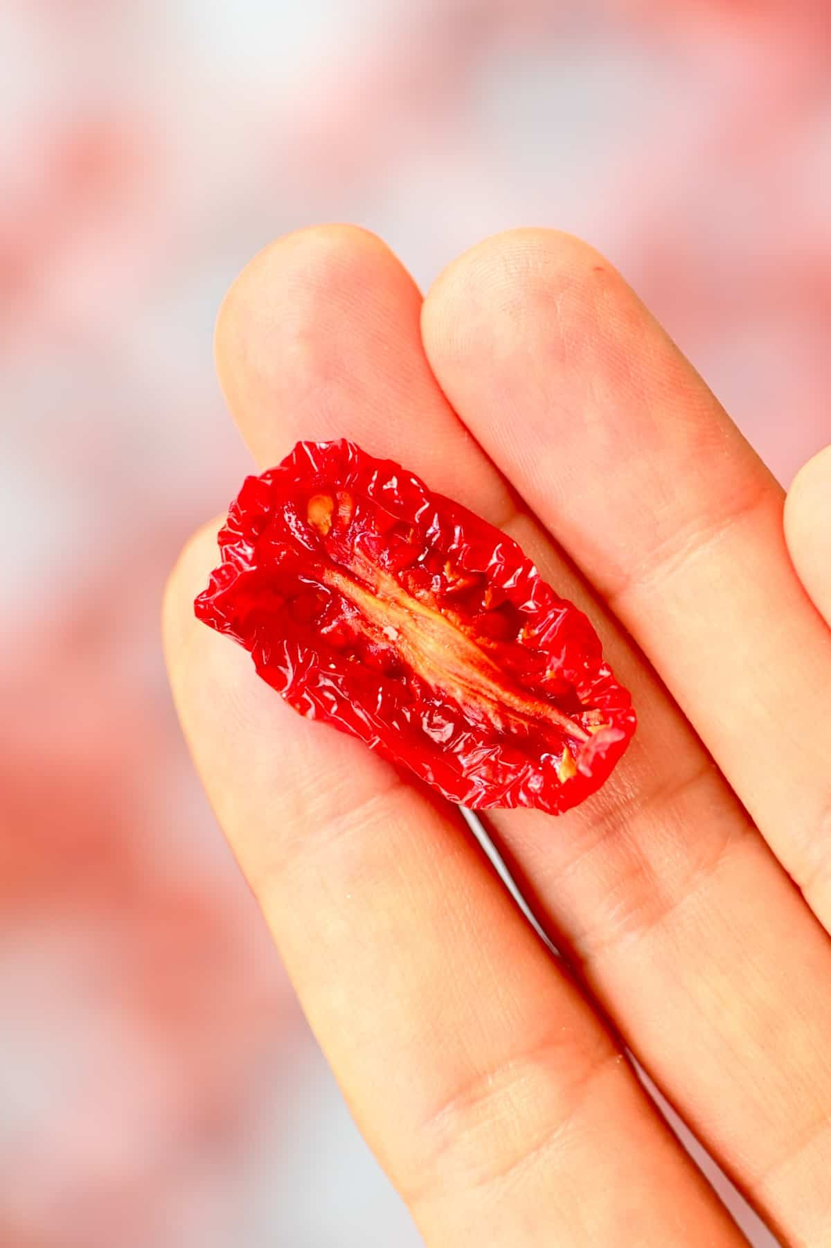A sun dried tomato in a hand