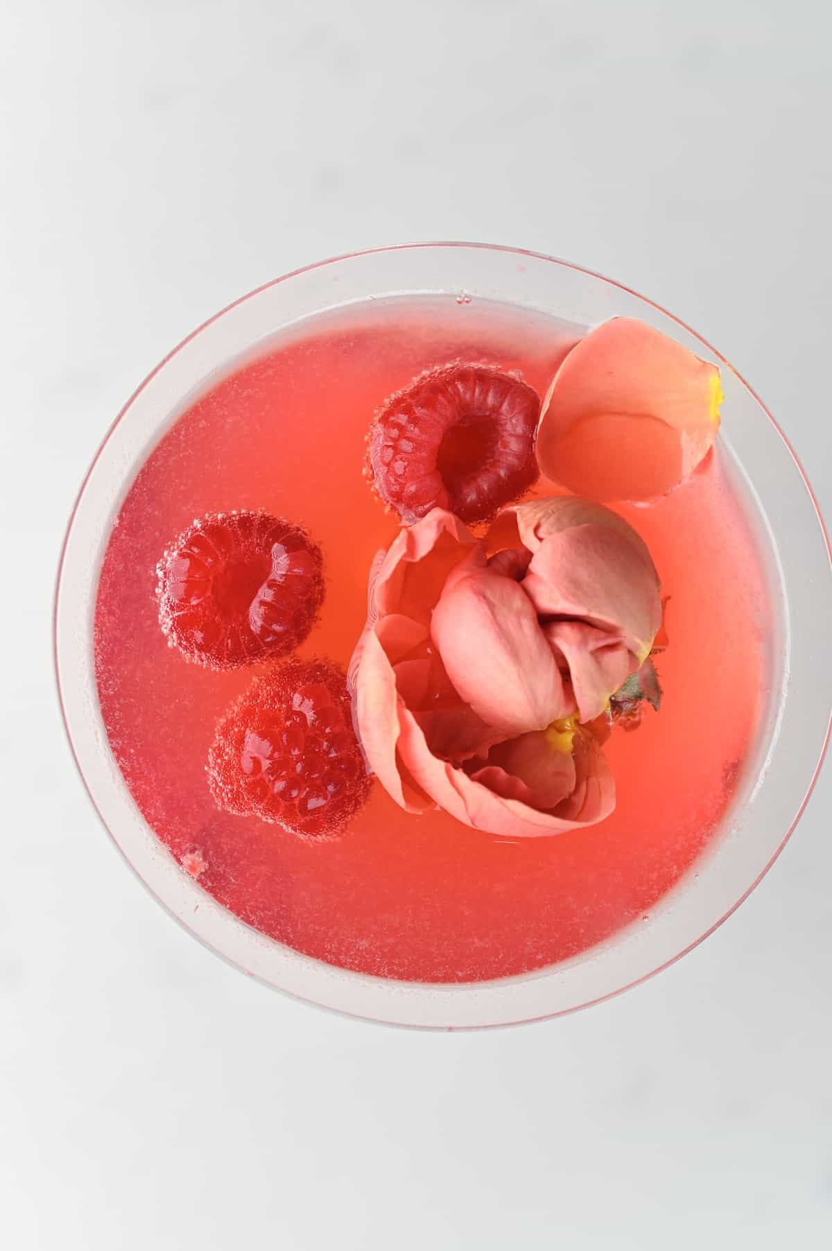 top view of a Raspberry Cocktail in a margarita glass