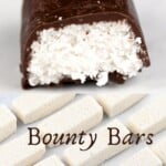 A homemade half-eaten Bounty Bar and a few naked coconut bars