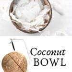 A coconut bowl with coconut chips and a coconut cut in the middle with a saw next to it