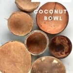 Seven coconut shell bowls on a flat surface