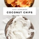 baked coconut chips in a bowl and coconut chips in a bowl