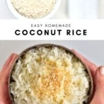 Rice in a bowl and coconut rice in a coconut shell bowl