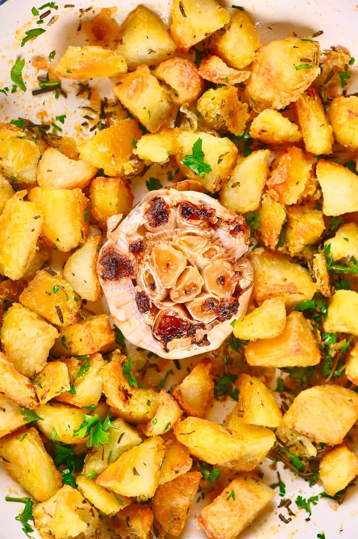 Close up of Roasted Potatoes with garlic