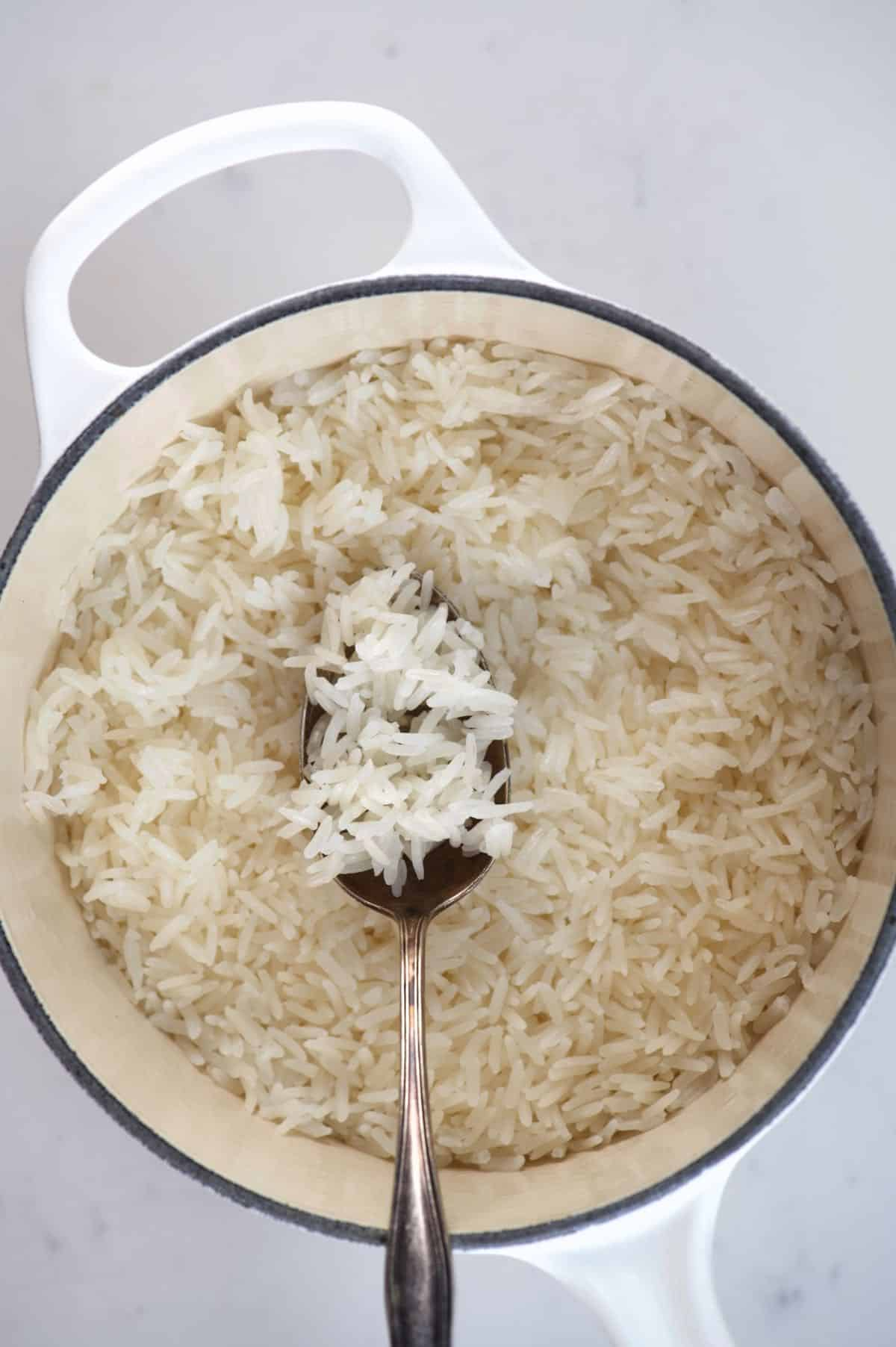Fluffy Jasmine Rice in a pot