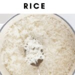Fluffy Jasmine Rice in a pot with a spoon