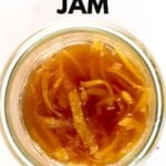 Top view of ginger jam in a jar