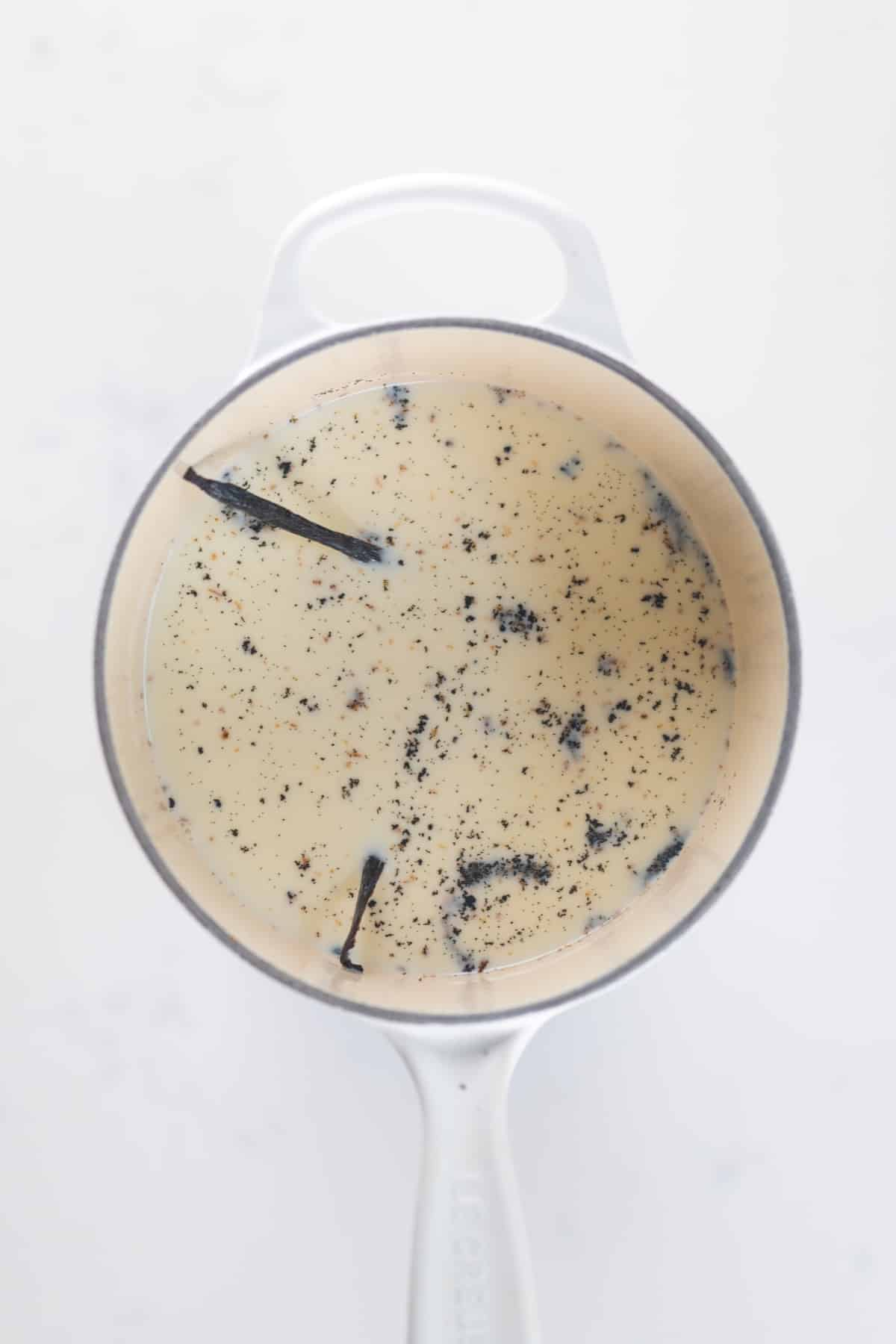 Milk and vanilla in a pot