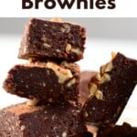 No-Bake Brownie with walnut squares stacked on top of each other
