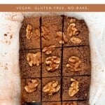 No-bake brownie cut into squares