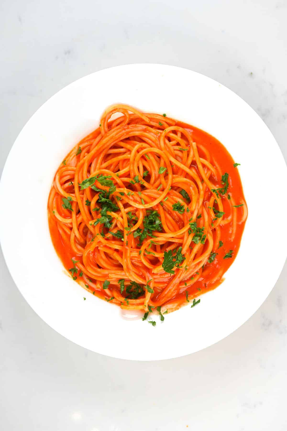 Roasted Red Pepper Pasta in a plate