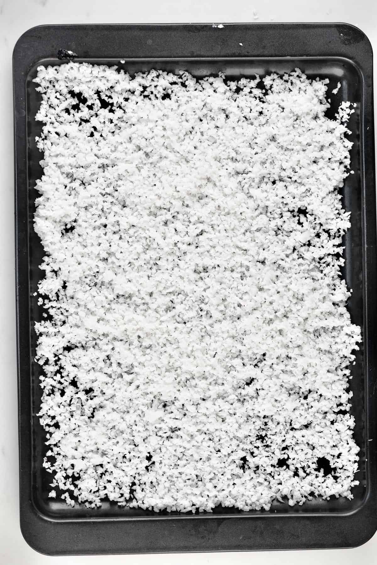 Shredded Coconut in a tray